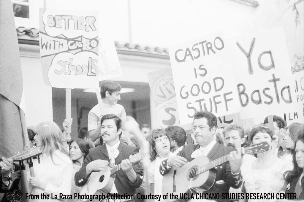 CSRC_LaRaza_B1F6C2_LG_022 Protesters and Luis Pingarron, writer for LUCHA, demand the reinstatement of Sal Castro to Lincoln High School during a march to the LAUSD Board of Education | Luis Garza, La Raza photograph collection. Courtesy of UCLA CSRC