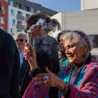 """Ofelia Esparza leads a grounding exercise at a Traditional Arts Roundtable Series event called """"Theories of Change and Transformative Cultural Practice"""" in April 2019. 