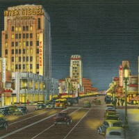 Postcard of Miracle Mile at night (cropped)