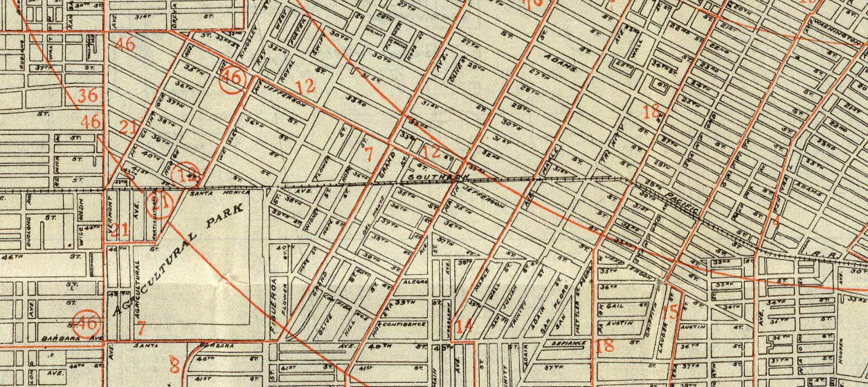 A close up the Southern Pacific Railroad along the original Southern border from the Security Map And Street Railway Guide of the City of Los Angeles circa 1908.