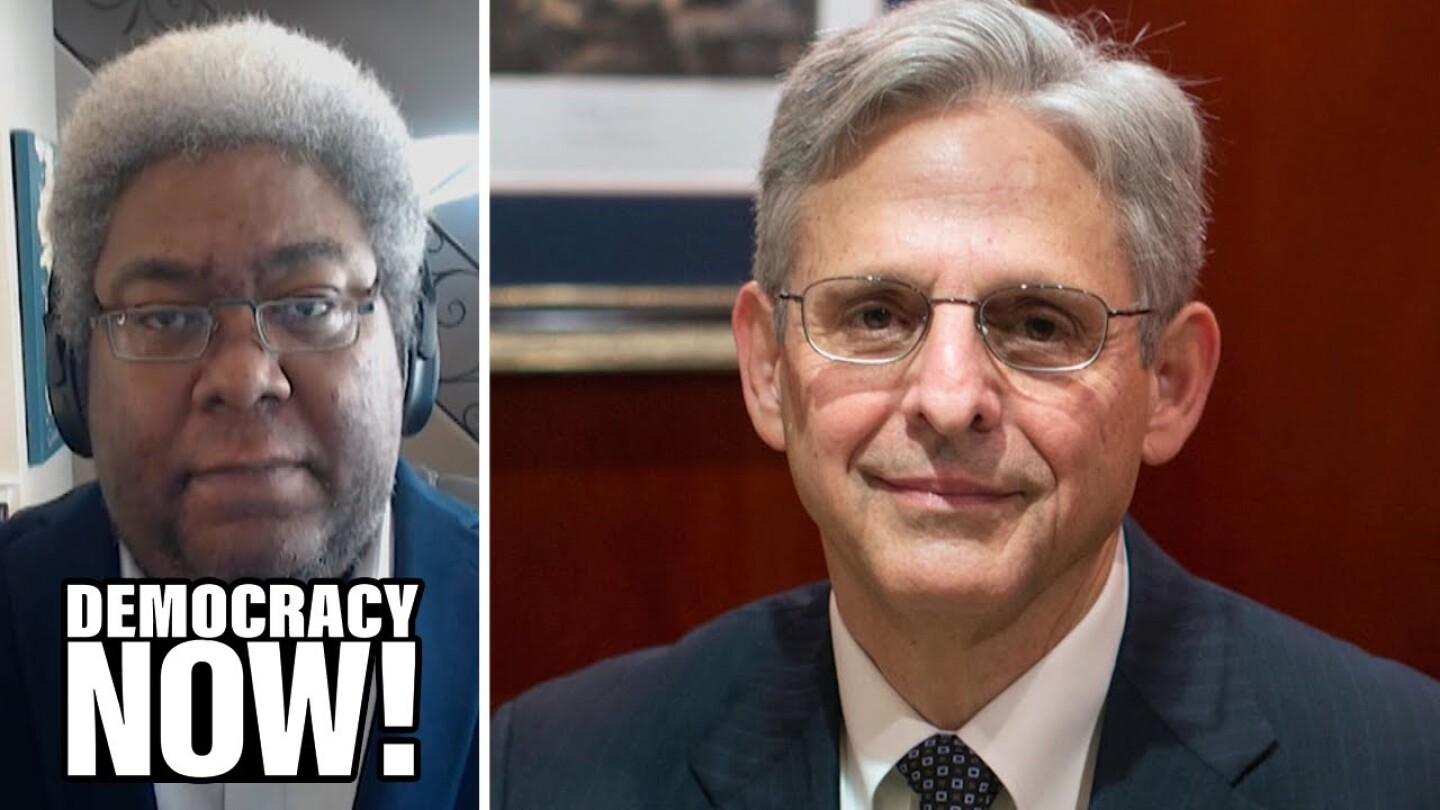 Split image of Elie Mystal, justice correspondent for The Nation, and appointed U.S. Attorney General Merrick Garland.