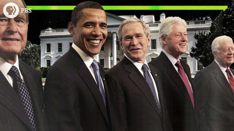 Past U.S. presidents George H. W. Bush, Barack Obama, George W. Bush, Bill Clinton, and Jimmy Carter.