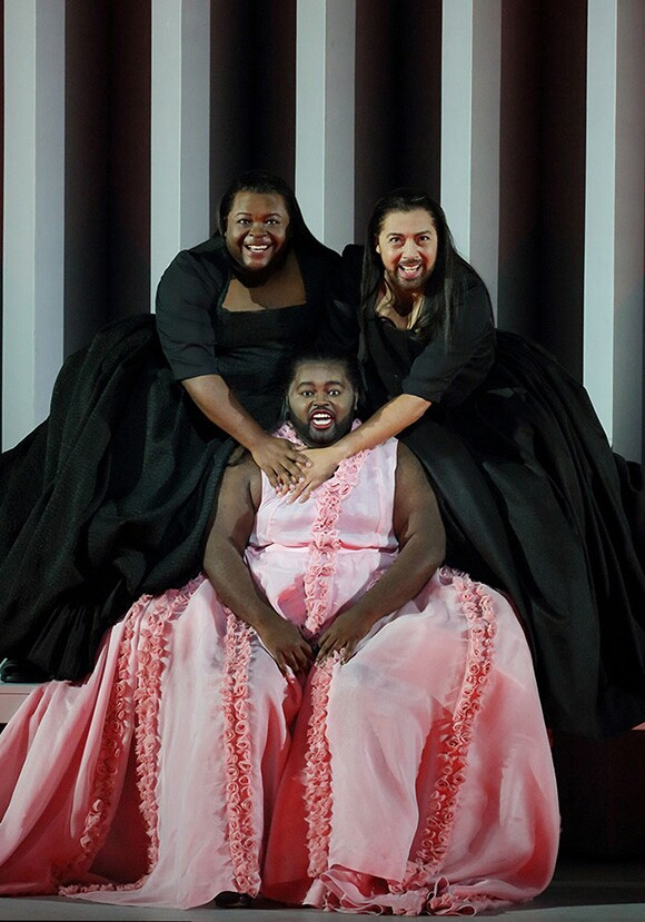 "John Holiday (center) as the Sorceress in ""Dido and Aeneas,"" with G. Thomas Allen (left) as the First Witch and Darryl Taylor (right) as the Second Witch Photo: Craig Mathew/LA Opera"