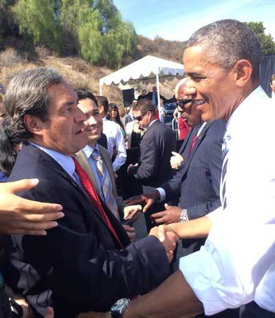 Robert García with former President Barack Obama during the designation of the San Gabriel Mountains as a National Monument   García family / The City Project