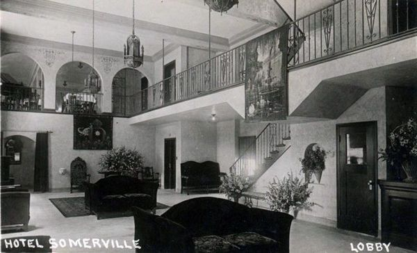 Postcard view of the Hotel Somerville lobby