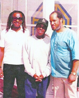 From L to R, Oscar Brasheer (musician), Kharon Harrison(jazz drummer and protege of Billy Higgins), Billy Higgins (Most recorded Jazz Drummer in the world and co-founder of The World Stage)