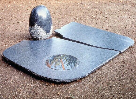 "Keiko Kasai, ""Moon Pond,"" 1987, 55"" x 56"" x 18""  Black Granite"