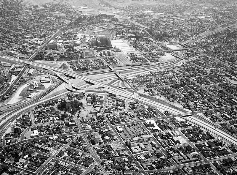 White Memorial and L.A. County Medical, Los Angeles, looking northeast, which features the I-5 and I-10 freeways cutting through East LA in 1961.