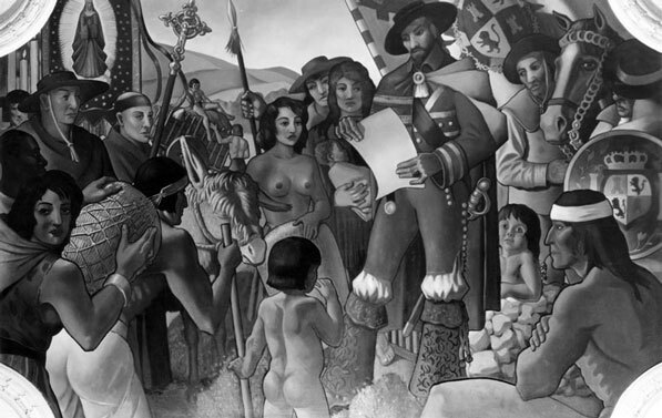 1937 mural by Buckley Mac-Gurrin depicting the 1781 founding of Los Angeles. The mural once appeared in the Los Angeles Hall of Records, but is now in storage. Courtesy of the Los Angeles Public Library Photo Collection.