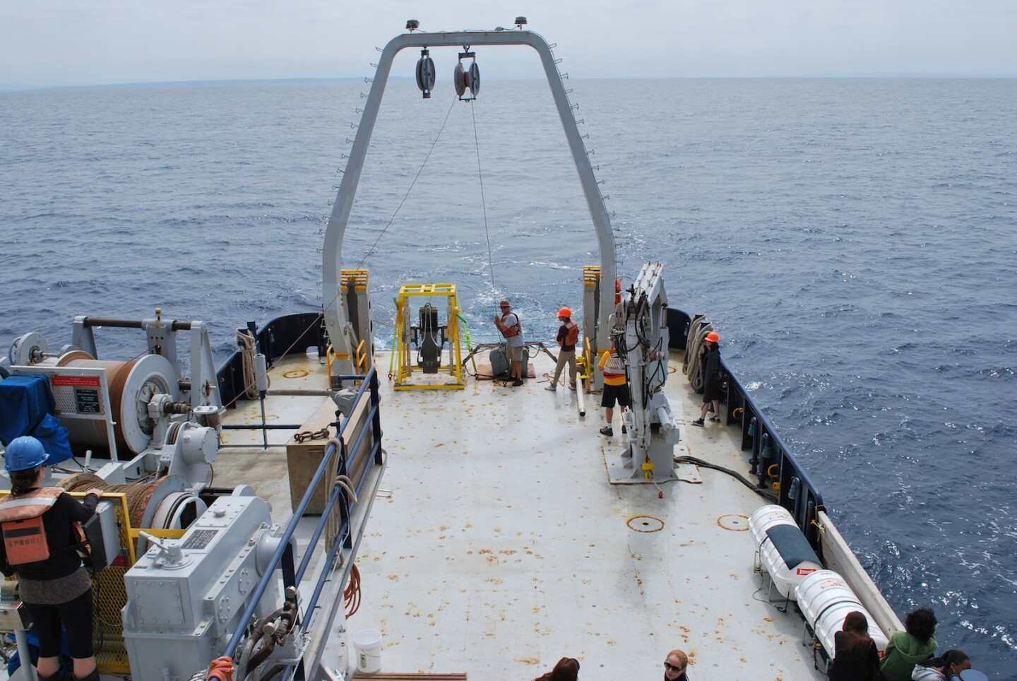 View on deck of research boat and box core used to collect sediment samples for study