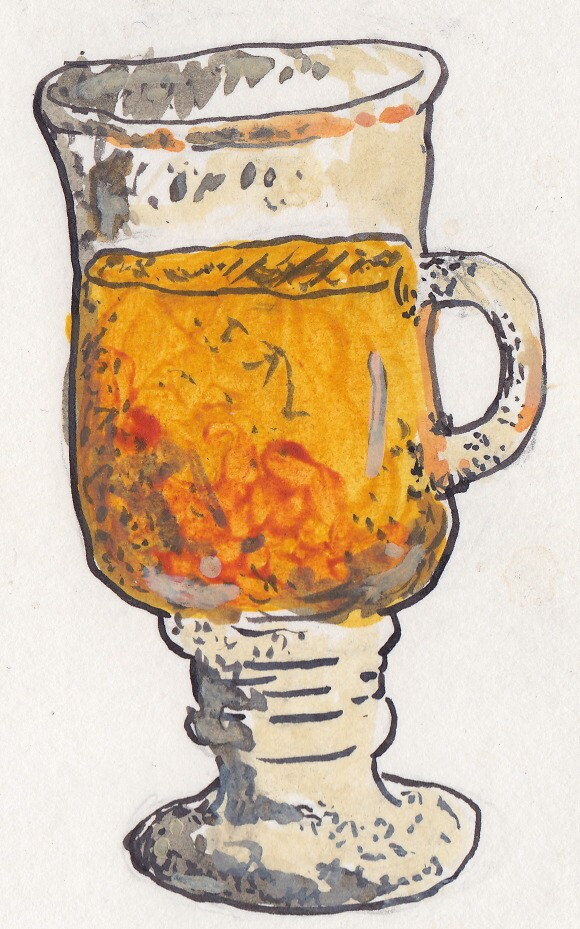A glass of tea from the Tula Tea room. | Illustration: Isabel Ochoa Gold.