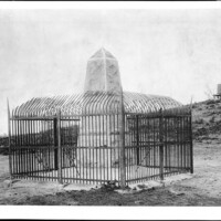 The monument that marks the border between the U.S. and Mexico, photographed c. 1900. Photo courtesy USC Digital Archives.