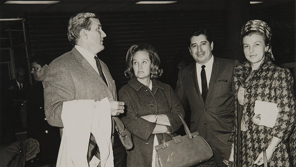 Rubén Salazar and wife Sally greet Chandlers at Mexico City Airport, Mexico City, ca. 1968 | Rubén Salazar (1928-1970) Papers, USC Libraries Special Collections