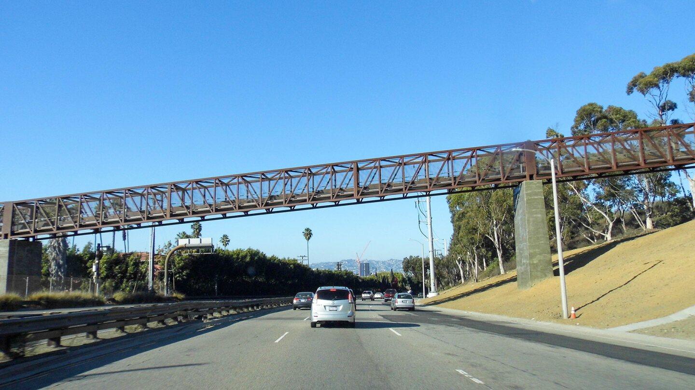 View of the Park to Playa Regional Trail Pedestrian Bridge from La Cienega Boulevard | Sandi Hemmerlein