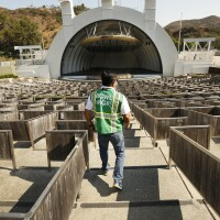 The Hollywood Bowl has been transformed into a drive-thru food distribution on Thursdays in a season when the concerts are canceled due to the COVID-19 pandemic.