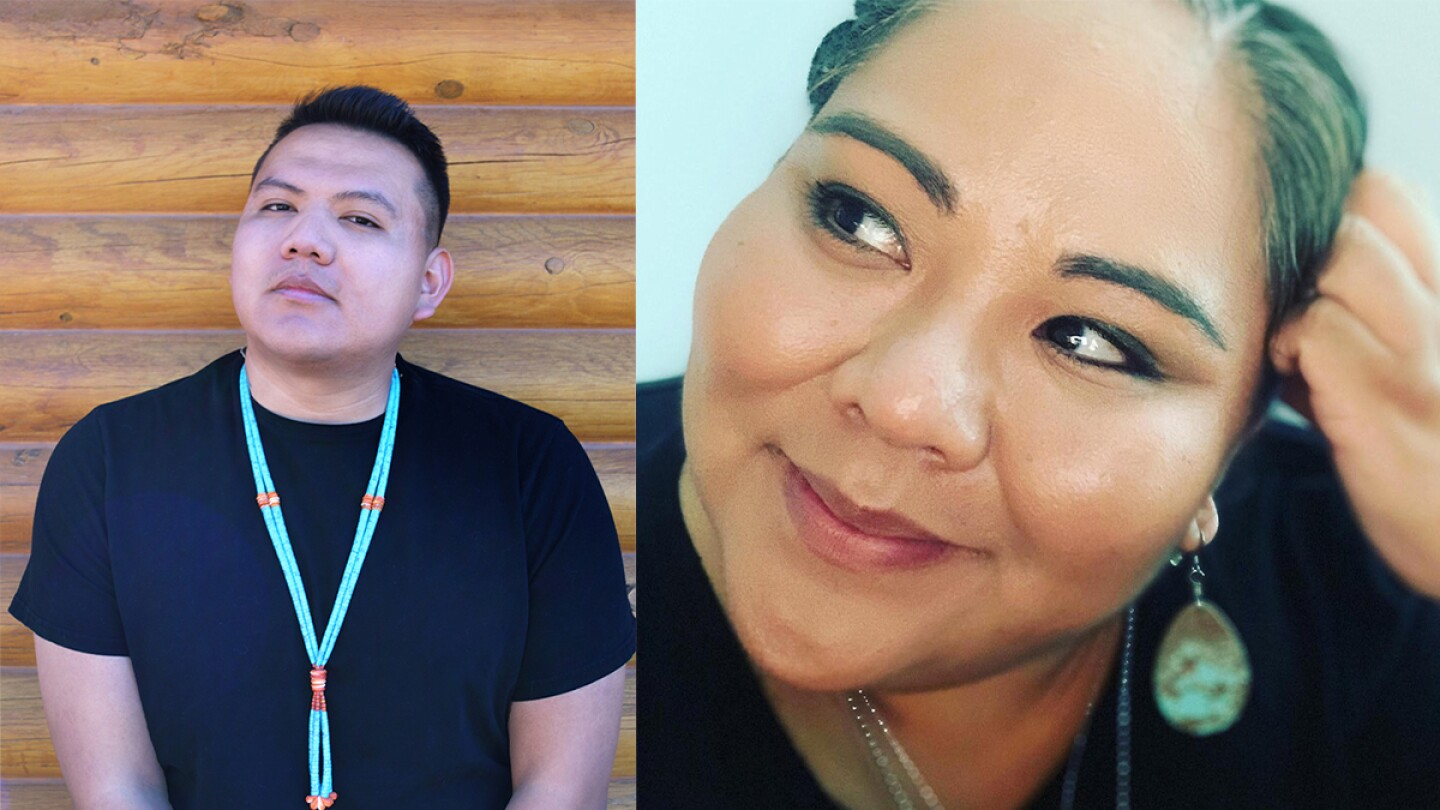 Native American poets Jake Skeets on the left and Rowie Shebala on the right.   Quanah Yazzie (L) and Rowie Shebala (R)