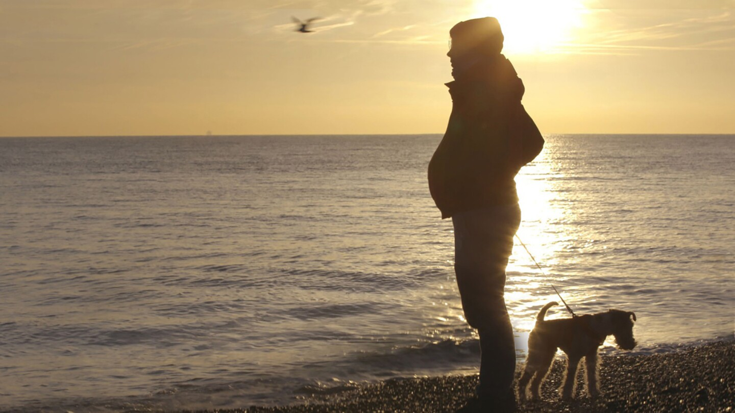 """A pregnant transgender man looks pensively toward the sea while holding his dog on a leash. 