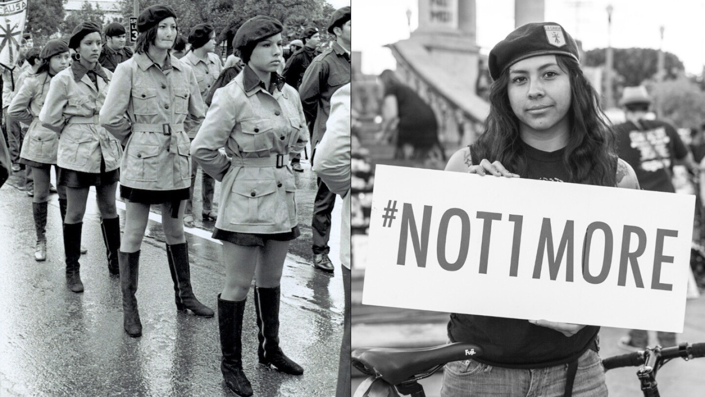 "[Left] ""Santa Barbara Brown Berets aka Moratorium in Maravilla"" 1970. 