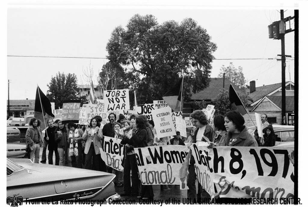 CSRC_LaRaza_B16F3C2_Staff_018 International Women's Day march in East Los Angeles | La Raza photograph collection. Courtesy of UCLA Chicano Studies Research Center