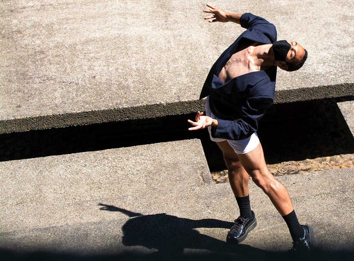 Heidi Duckler Dance Northwest dancer puts his head back as he dances.   Courtesy Heidi Duckler Dance
