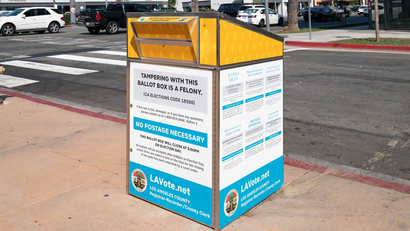 A ballot drop box outside of the Will & Ariel Durant Library in Hollywood, California.