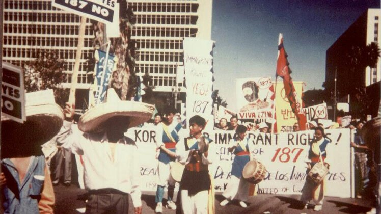 About 70,000 people protesting Proposition 187 in donwtown Los Angeles. | Korean Resource Center