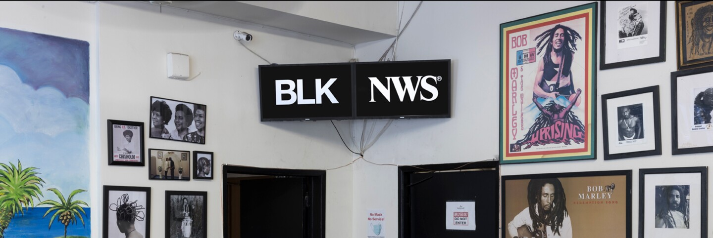 "Kahlil Joseph, BLKNWS®, 2018-ongoing. Two-channel fugitive newscast. Courtesy of the artist. Installation view, ""Made in L.A. 2020: a version,"" Natraliart Jamaican Restaurant, Los Angeles. 