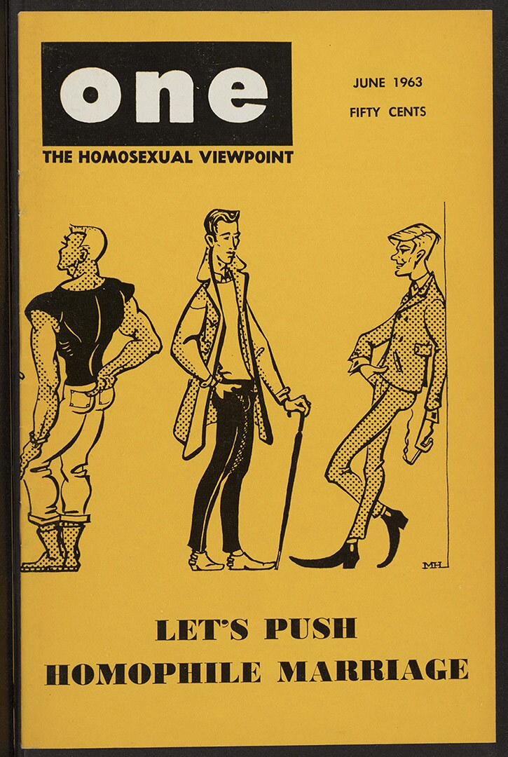 ONE magazine, volume 11, number 6 (1963 June). | Mark Haldane, cover; George Mortenson, staff artist, Tony Reyes, staff artist, ONE National Gay and Lesbian Archives, USC Libraries