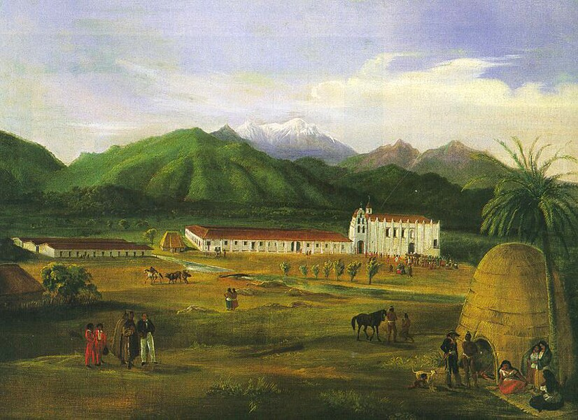 Mission San Gabriel as it appeared in 1828