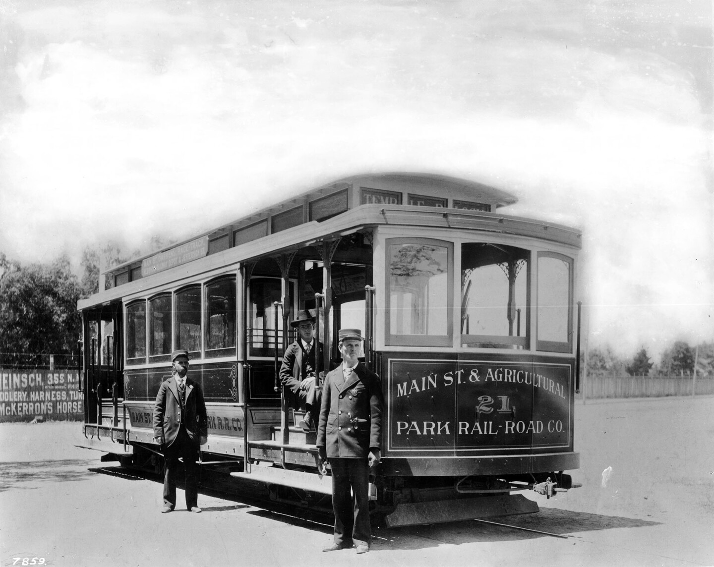 Workers pose with a Main Street and Agricultural Park Street Railroad car shortly before the line was electrified in 1897. Courtesy of the California Historical Society Collection, USC Libraries.