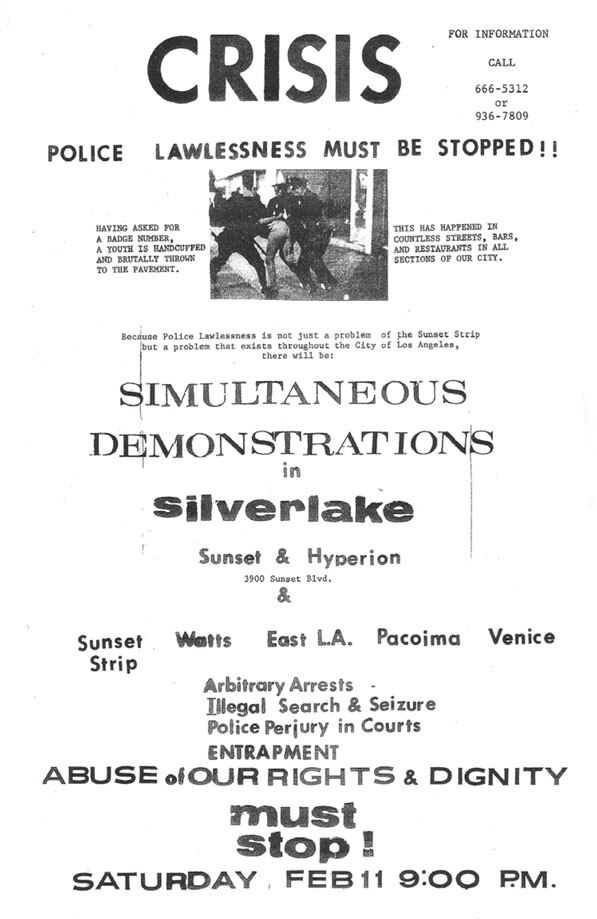 Flyer distributed after the police raid at the Black Cat Bar.  Courtesy of the ONE National Gay and Lesbian Archives.