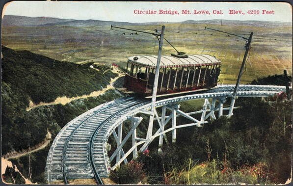 Postcard of the Circular Bridge segment of the Mount Lowe Railway. Courtesy of the James Rojas Collection, Metro Transportation Library & Archive. Used under a Creative Commons license (CC BY-NC-SA 2.0).