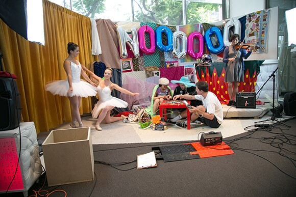 """""""Noooooooooooooooooooooooooooooooo TV,""""  in Collaboration with Guan Rong, with Chelsea Zeffiro, Rebecca Correia, and Pauline Lay, Performance view, Hammer Museum, Los Angeles, June 21, 2014. 