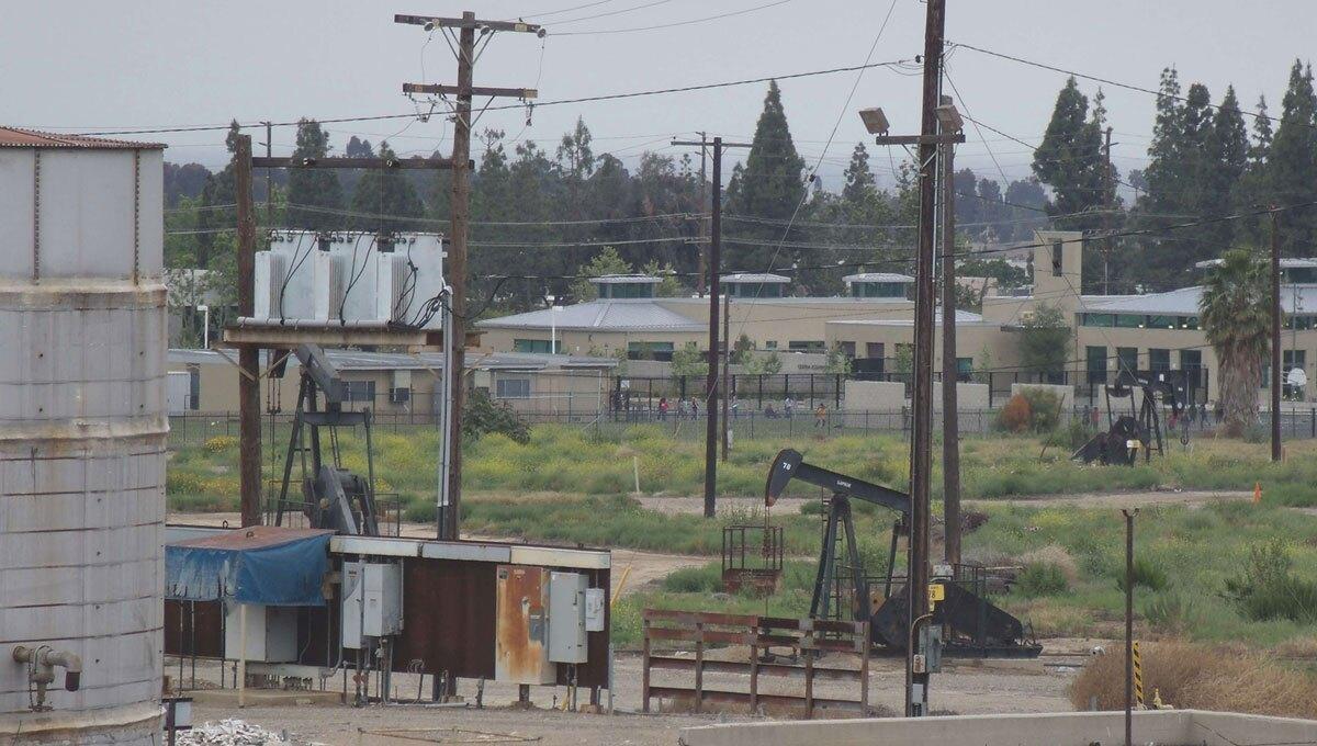Oil field near elementary school