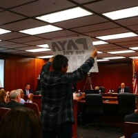 Paiute man protests at the LADWP Board of Commissioners meeting | Photo: Big Pine Paiute Tribe