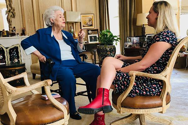 Rosalind Wiener Wyland (left) is interviewed in her home by writer Hadley Meares (right). | Allison Gray