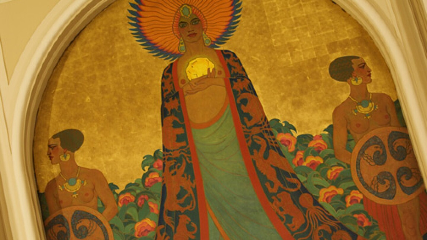 Mural of Queen Calafia and her Amazons in the Room of the Dons at the Mark Hopkins Hotel, San Francisco, California.