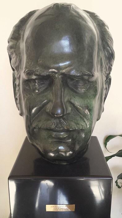 Sergio López-Mesa's Sculpture of Aurelio de la Vega &quot;Head of Composer&quot;<br /> Aurelio de la Vega Collection.   Cuban California Archive USC Libraries Special Collections.