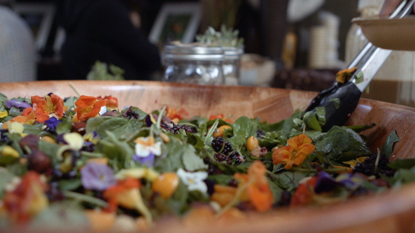 """Salad prepared with local ingredients at Café Ohlone. 