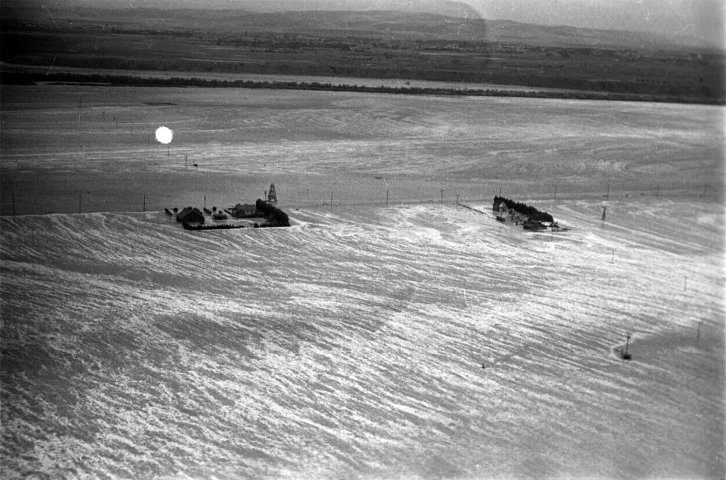Aerial view of rushing flood waters in North Hollywood in March 1938