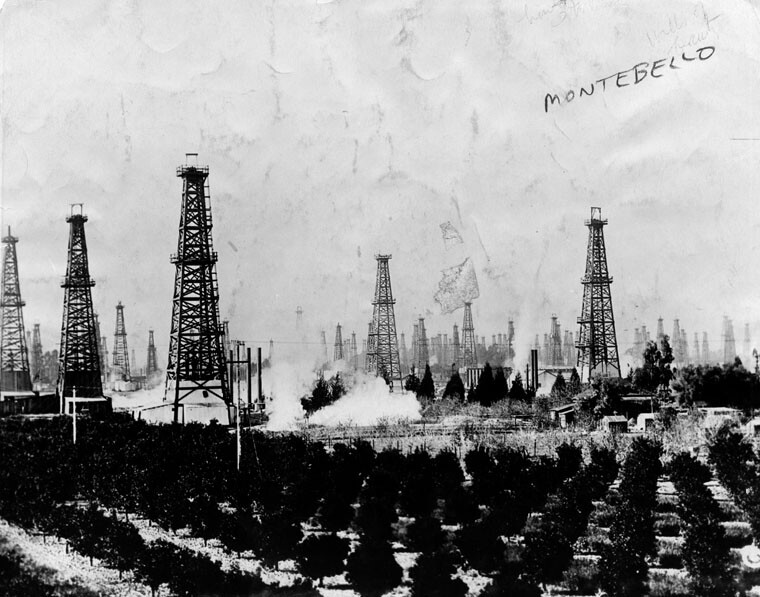 Two big Southland industries, citriculture and oil extraction, meet in Montebello, 1926. Courtesy of the Herald-Examiner Collection - Los Angeles Public Library.