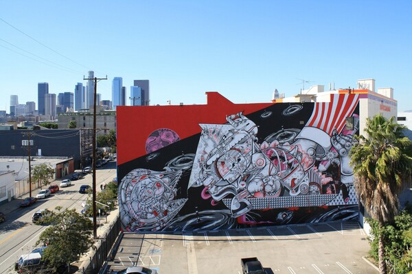 Heartship in the Arts District by How & Nosm I Photo courtesy L.A. Freewalls Project / Jet Set Graffiti