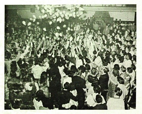 New year's eve balloon drop at El Monte Legion Stadium ca. 1957 | Image: from the back cover of the Memories of El Monte LP