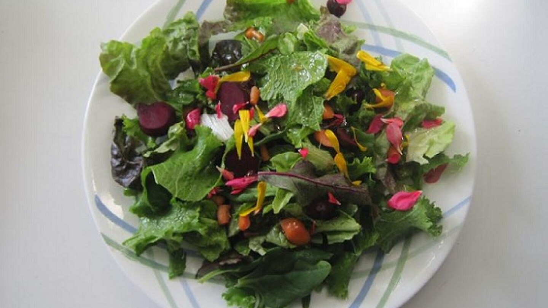 A salad made with produce and edible flowers from Malibu's Vital Zuman Organic Farm (Photo: Siel Ju)