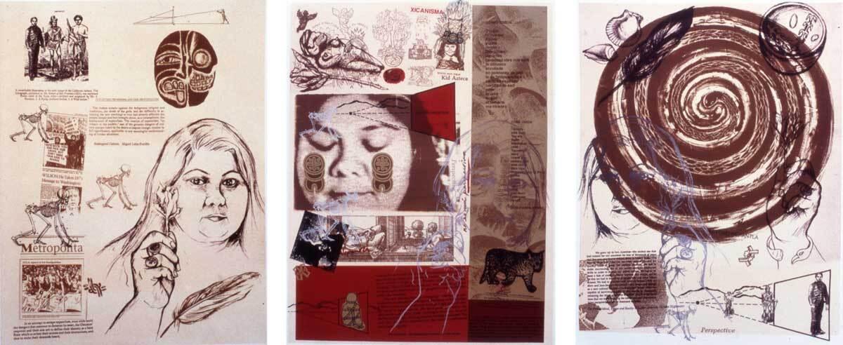 "Yreina D. Cervántez ""The Nepantla Triptych: Nepantla, Mi Nepantla, Beyond Nepantla,"" 1995-1996 Lithograph   Courtesy of El Nopal Press"