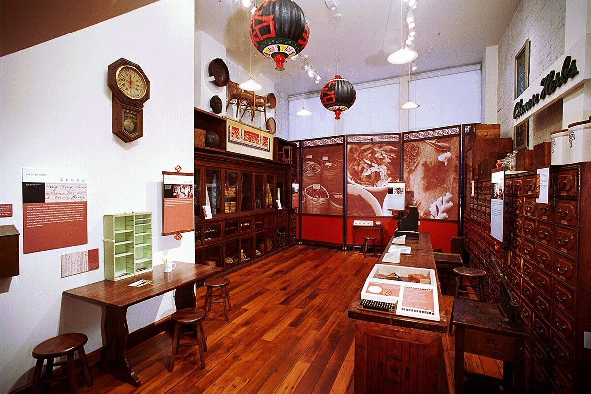 This exhibition at the Chinese American Museum is a recreation of an actual store, the Sun Wing Wo General Store and Herb Shop, that was housed in the Garnier Building, home of the museum, in the 1890's. | Courtesy  of the Chinese American Museum