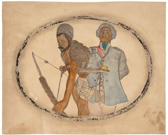 "Frohawk Two Feathers, ""Scenes from the Veld 2: Hunter-gatherer of the veld and the spectre of his future, a servant,"" 2011. Acrylic, ink and tea on paper. 16 x 20 in. 
