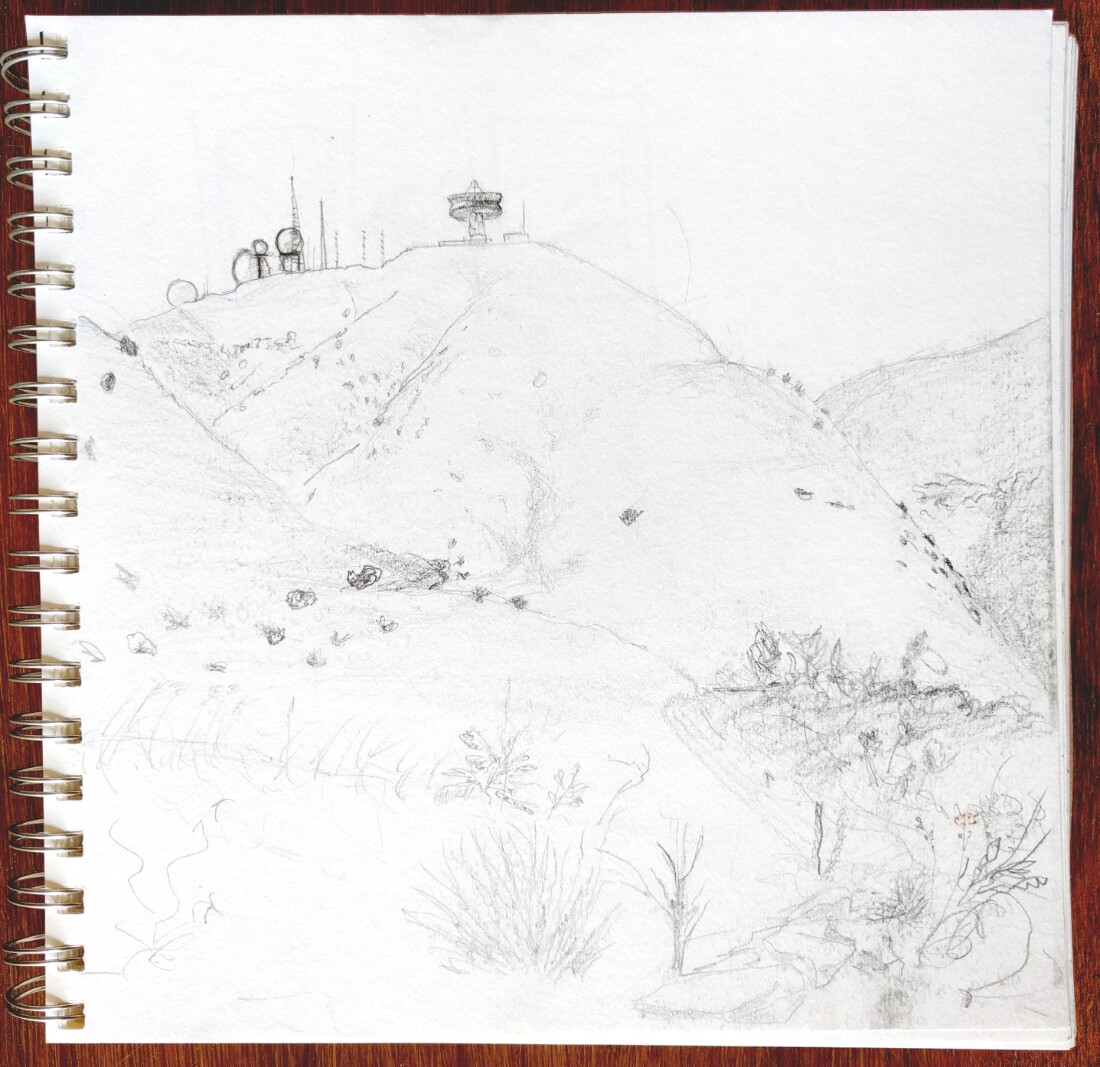 Sketch of Laguna Peak Tracking Station, 2016. Pencil on paper | Conor Collins