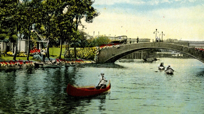 A retro photo of Venice of America canals | Still from Lost LA Season 3 Venice of America