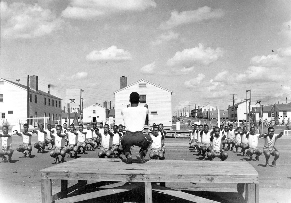 Pilot trainees get physical instruction at Tuskegee Army Air Field.   Courtesy of U.S. Air Force